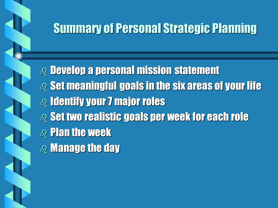 "Roles (cont'd) "" First Things First"" - Steven Covey b Using your personal and corporate strategic plans and program goals, identify weekly goals for e"