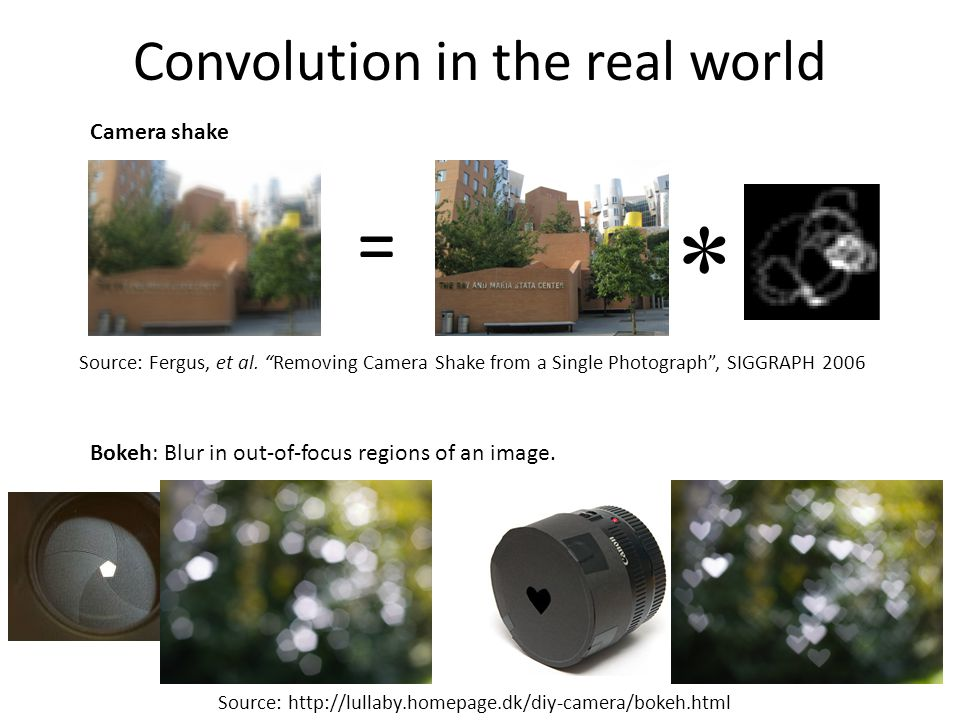 Convolution in the real world Source: http://lullaby.homepage.dk/diy-camera/bokeh.html Bokeh: Blur in out-of-focus regions of an image. Camera shake *