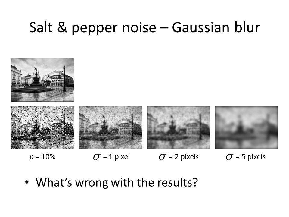 Salt & pepper noise – Gaussian blur = 1 pixel= 2 pixels= 5 pixels What's wrong with the results? p = 10%