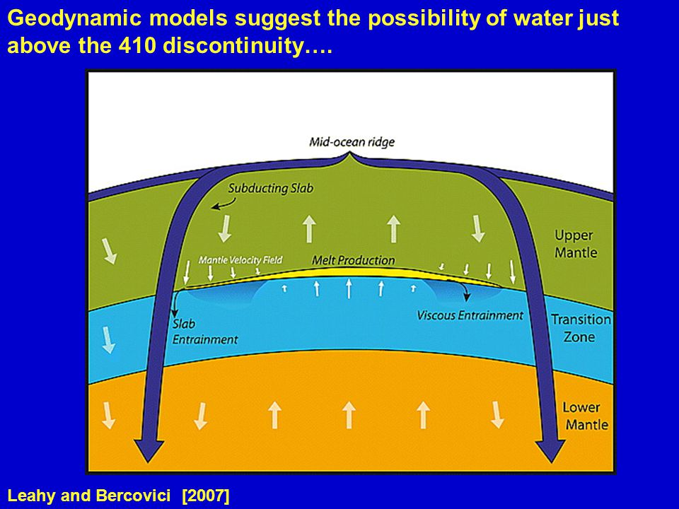 Leahy and Bercovici [2007] Geodynamic models suggest the possibility of water just above the 410 discontinuity….