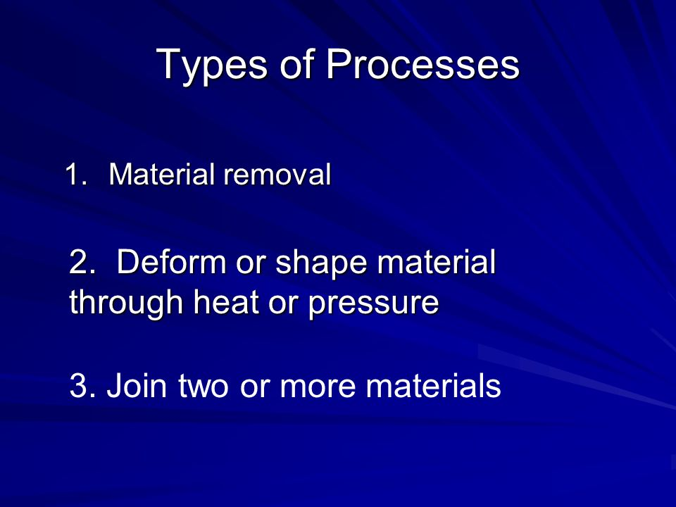 Remove Material 1.Sawing 2.Drilling 3.Milling 4.Turning (Lathe) 5.Abrasive finishing