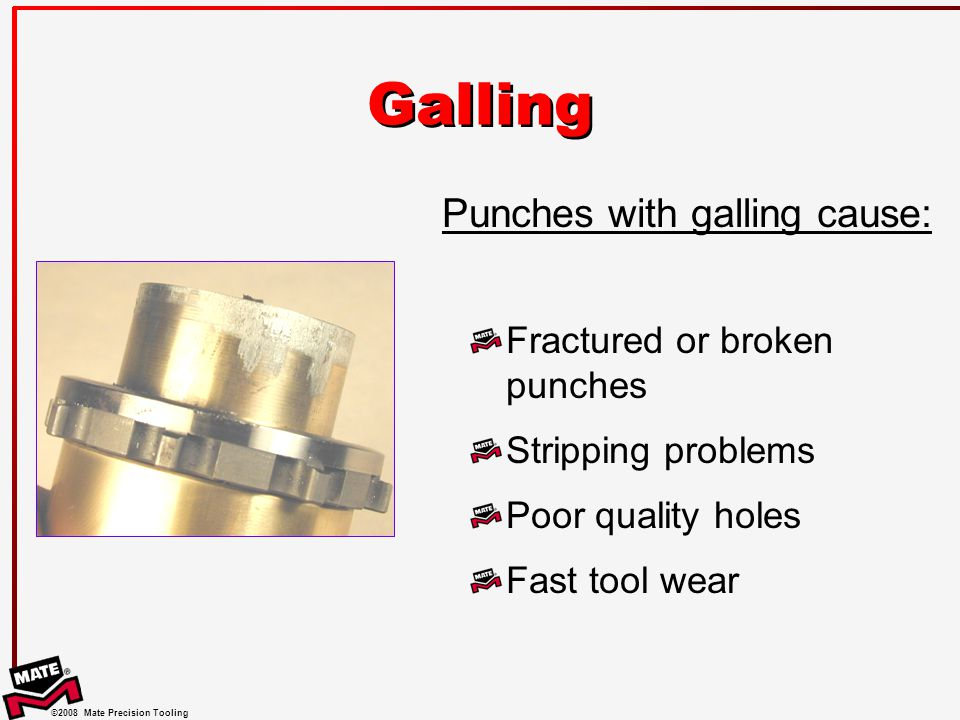 ©2008 Mate Precision Tooling Galling Fractured or broken punches Stripping problems Poor quality holes Fast tool wear Punches with galling cause: