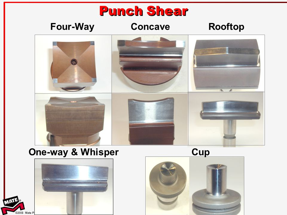 ©2008 Mate Precision Tooling Punch Shear One-way & WhisperCup ConcaveRooftopFour-Way