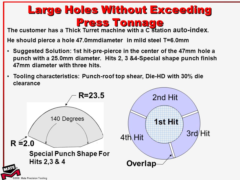©2008 Mate Precision Tooling Large Holes Without Exceeding Press Tonnage R =2.0 The customer has a Thick Turret machine with a C station auto-index.