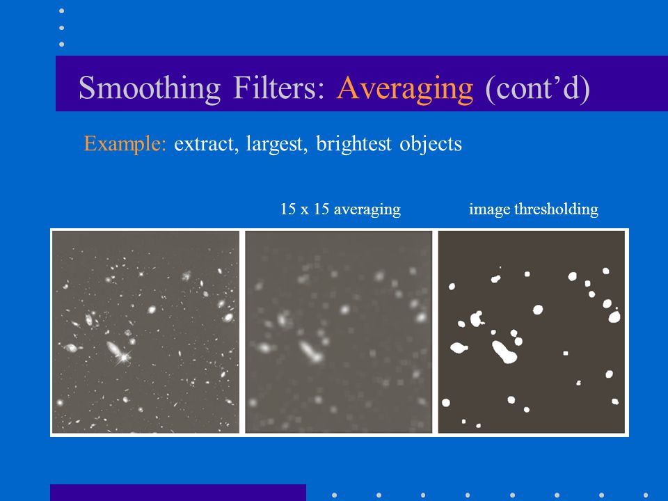 Smoothing Filters: Averaging (cont'd) 15 x 15 averagingimage thresholding Example: extract, largest, brightest objects