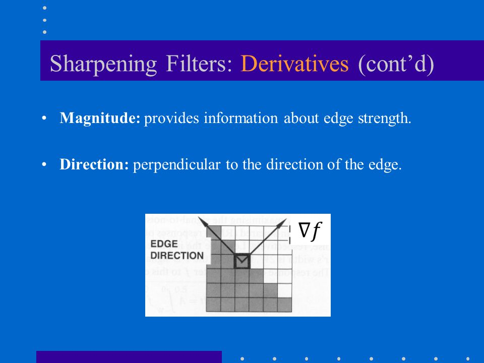 Sharpening Filters: Derivatives (cont'd) Magnitude: provides information about edge strength.