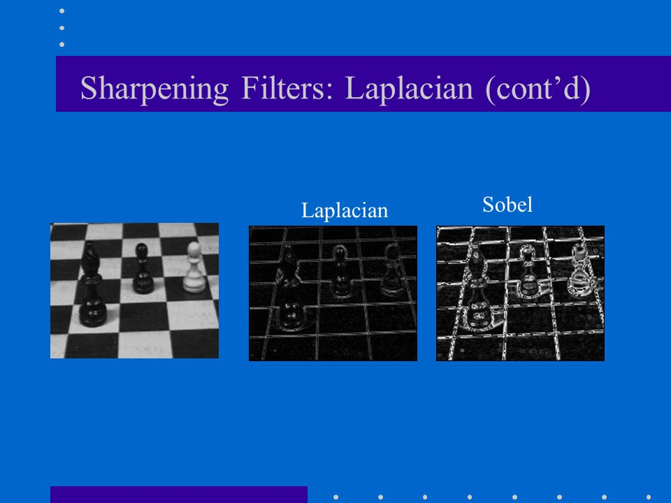 Sharpening Filters: Laplacian (cont'd) Laplacian Sobel