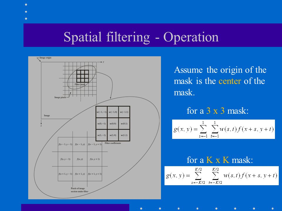 Spatial filtering - Operation Assume the origin of the mask is the center of the mask.