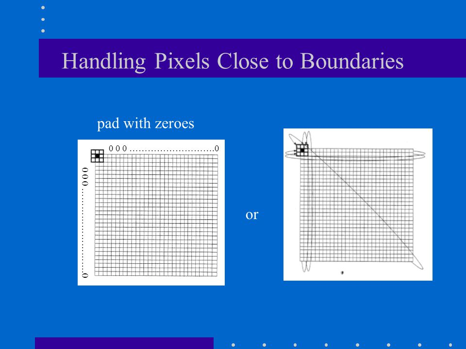 Handling Pixels Close to Boundaries pad with zeroes or 0 0 0 ……………………….0