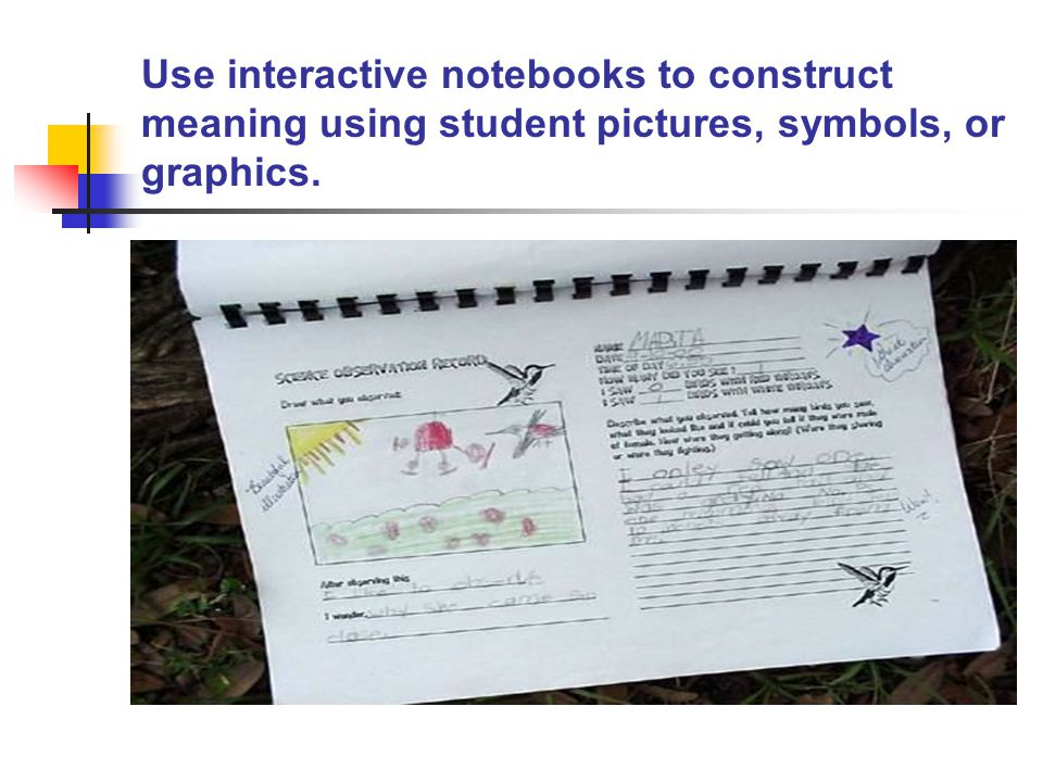 Use interactive notebooks to construct meaning using student pictures, symbols, or graphics.