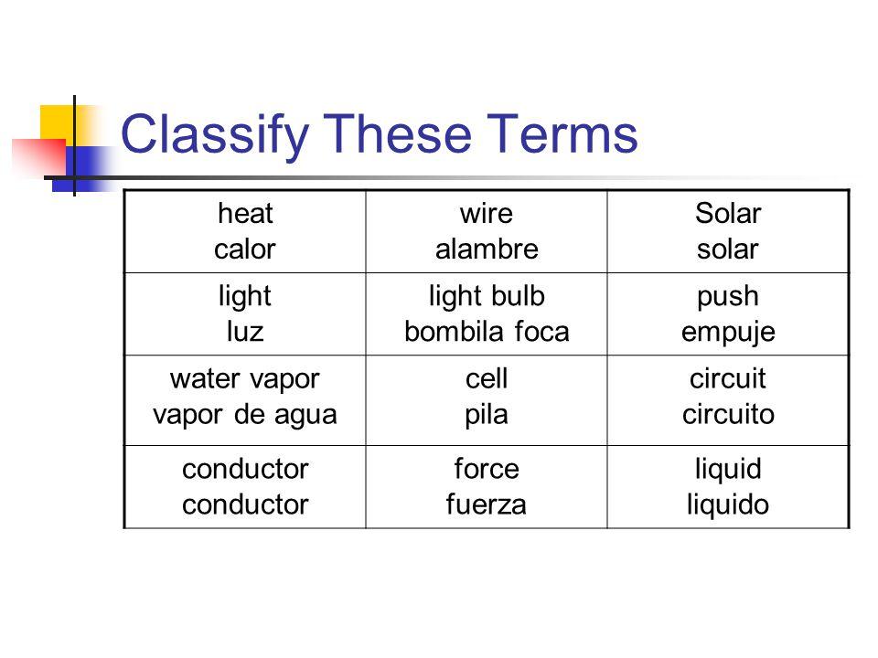 Classify These Terms heat calor wire alambre Solar solar light luz light bulb bombila foca push empuje water vapor vapor de agua cell pila circuit circuito conductor force fuerza liquid liquido