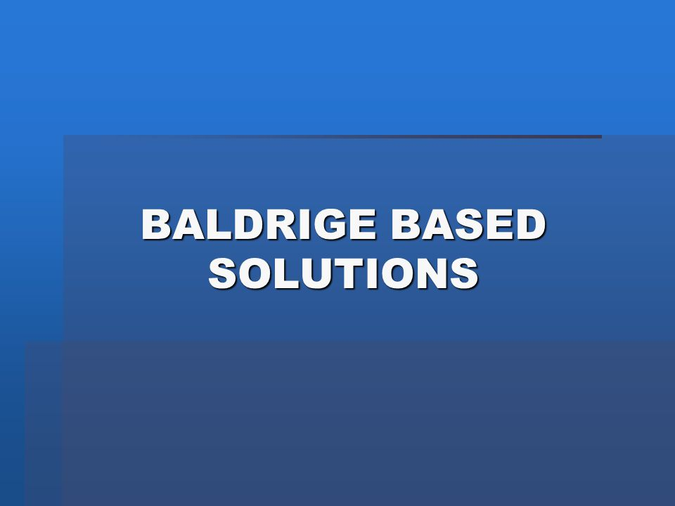 BALDRIGE BASED SOLUTIONS