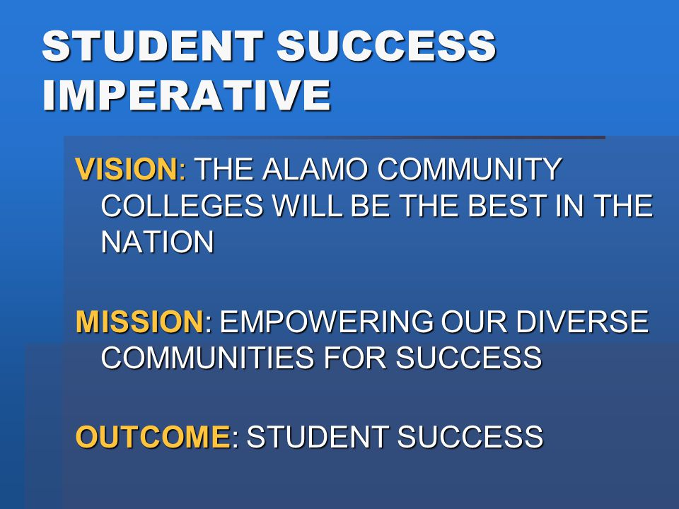 CONCLUSION DDDDistrict employees are crucial to Student Success MMMMeasure Progress and Results (Achieving the Dream: Culture of Evidence) UUUUse the Baldrige Model, provides common language CCCCollective and Individual Accountability TTTTranslate improvements into Policies/Procedures PPPPromote an Edge - be entrepreneurial HHHHave high expectations