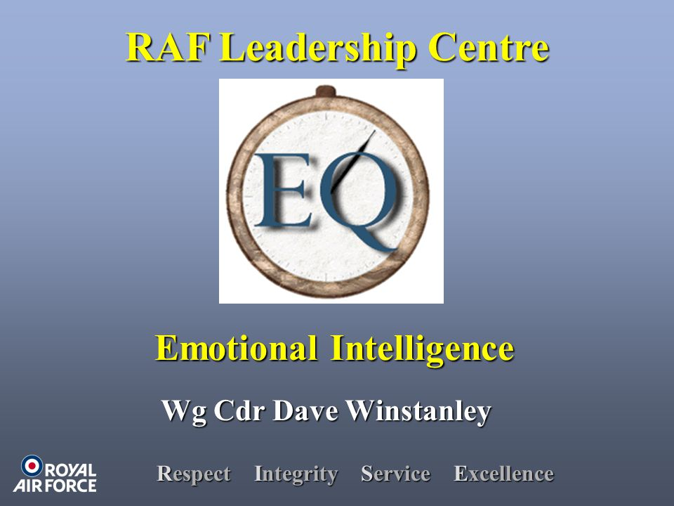 Respect Integrity Service Excellence Wg Cdr Dave Winstanley RAF Leadership Centre Emotional Intelligence