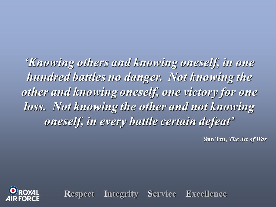 Respect Integrity Service Excellence 'Knowing others and knowing oneself, in one hundred battles no danger.