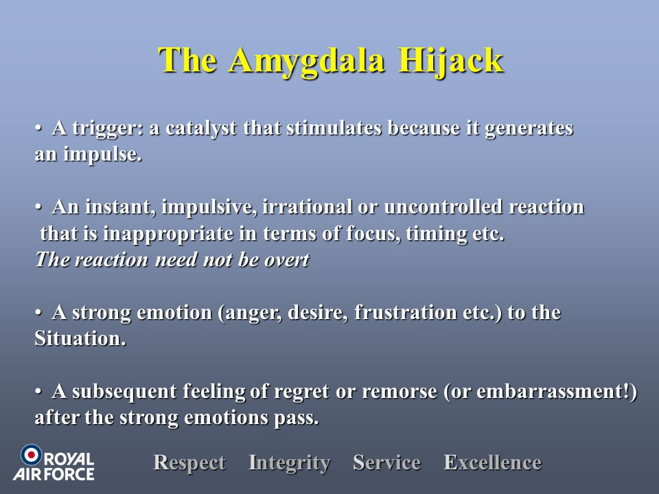 Respect Integrity Service Excellence The Amygdala Hijack A trigger: a catalyst that stimulates because it generates A trigger: a catalyst that stimulates because it generates an impulse.