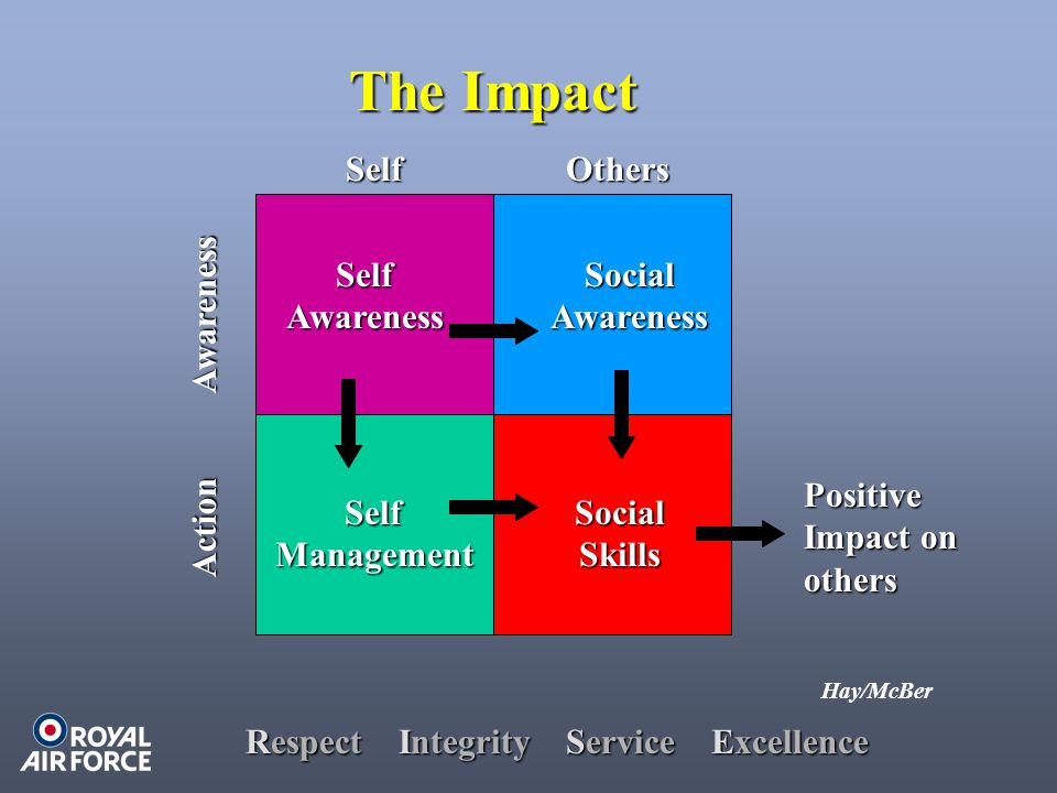 Respect Integrity Service Excellence The Impact The Impact Hay/McBer Awareness Action SelfOthers SelfAwareness SelfManagement SocialAwareness SocialSkills Positive Impact on others