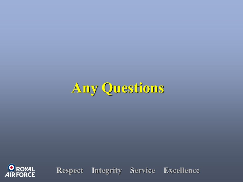 Respect Integrity Service Excellence Any Questions