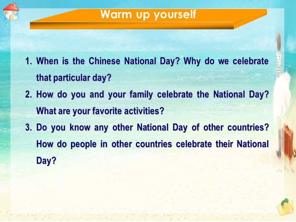 An American student and a Chinese student are talking about holiday celebrations in their countries.