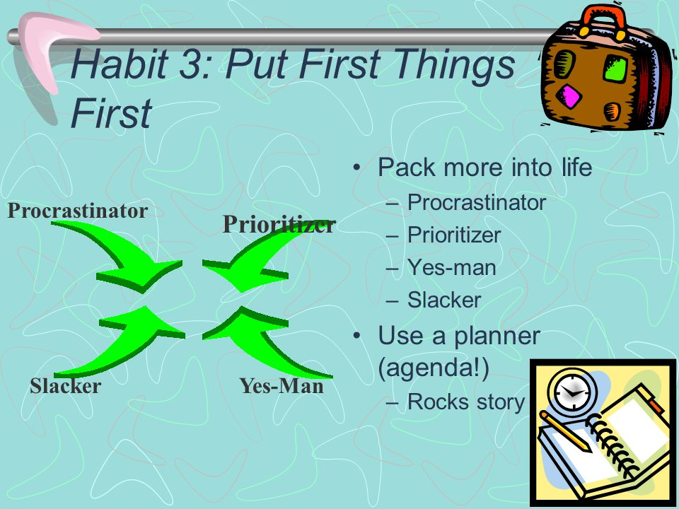 Habit 3: Put First Things First Pack more into life –Procrastinator –Prioritizer –Yes-man –Slacker Use a planner (agenda!) –Rocks story Procrastinator Prioritizer SlackerYes-Man