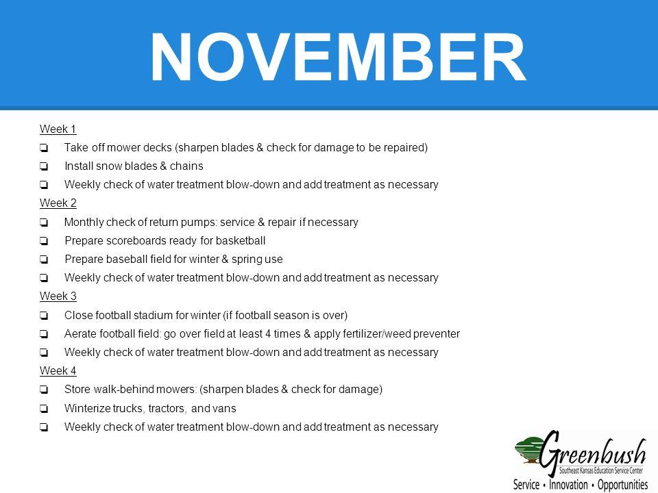 DECEMBER Week 1 ❏ Monthly check of stadium for vandalism etc.