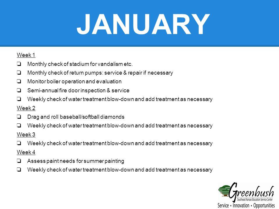FEBRUARY Week 1 ❏ Monthly check of stadium for vandalism etc.