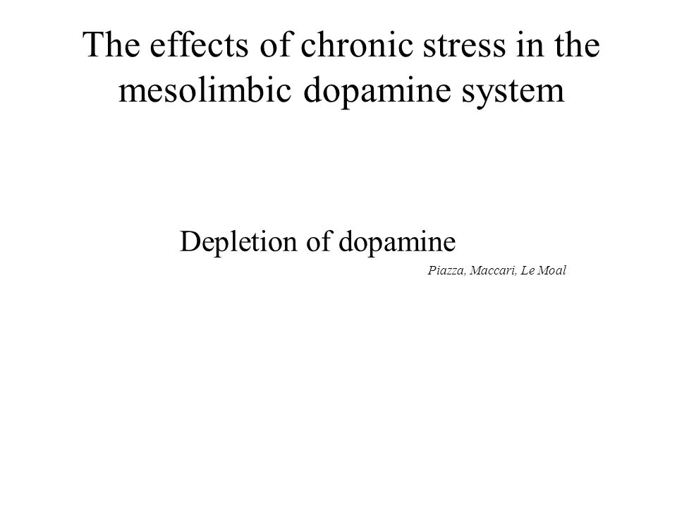 The effects of chronic stress in the mesolimbic dopamine system Depletion of dopamine Piazza, Maccari, Le Moal