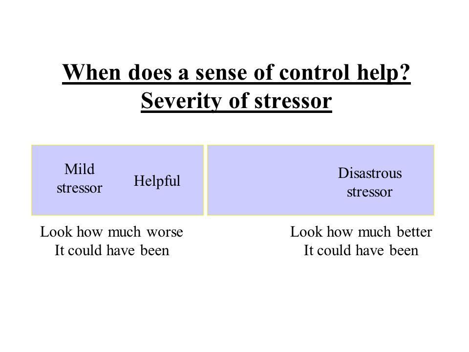 When does a sense of control help.