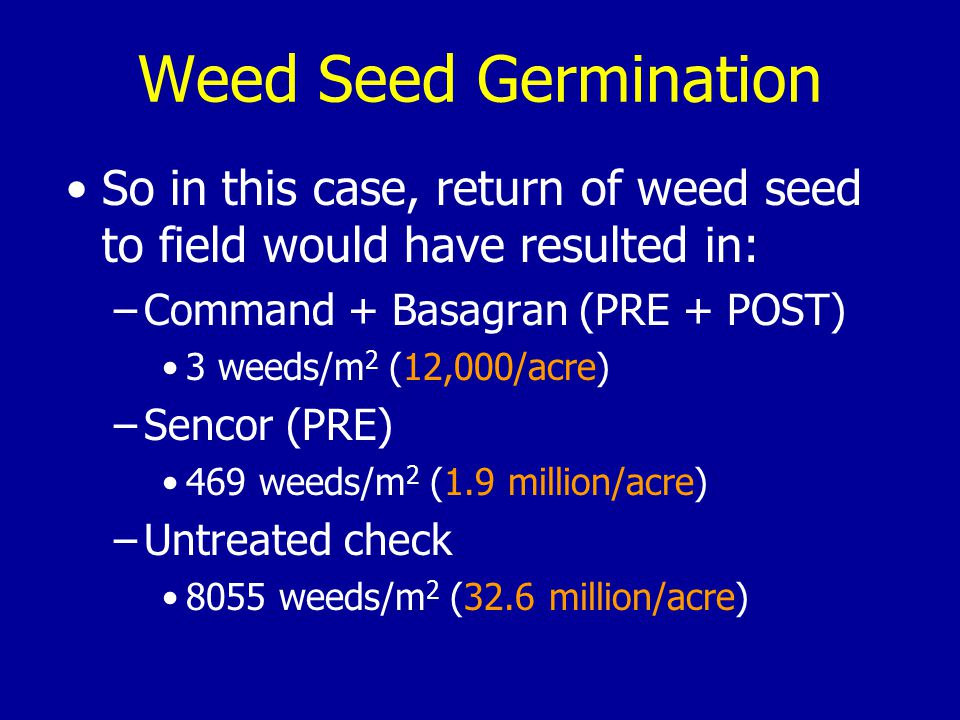 So in this case, return of weed seed to field would have resulted in: –Command + Basagran (PRE + POST) 3 weeds/m 2 (12,000/acre) –Sencor (PRE) 469 weeds/m 2 (1.9 million/acre) –Untreated check 8055 weeds/m 2 (32.6 million/acre) Weed Seed Germination