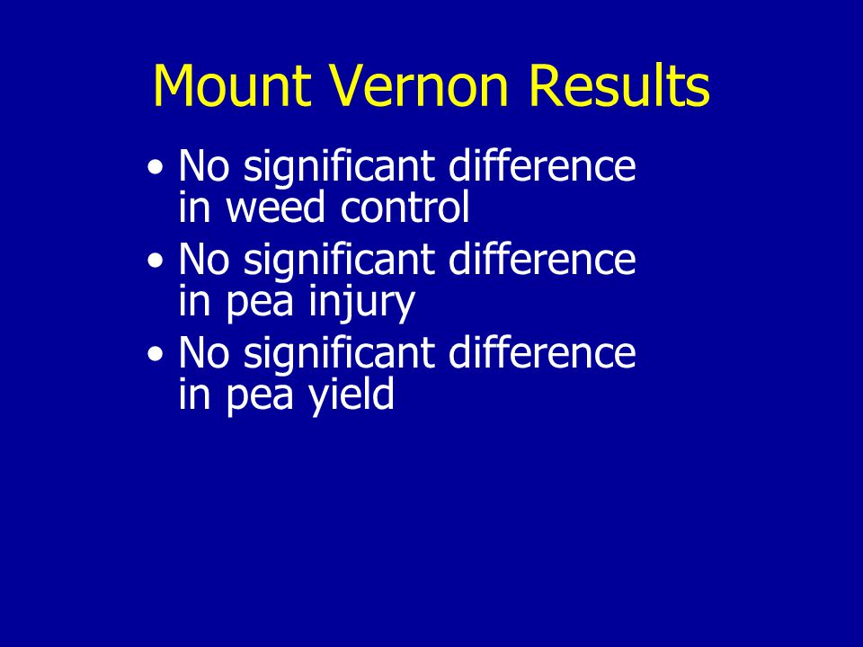 Mount Vernon Results No significant difference in weed control No significant difference in pea injury No significant difference in pea yield