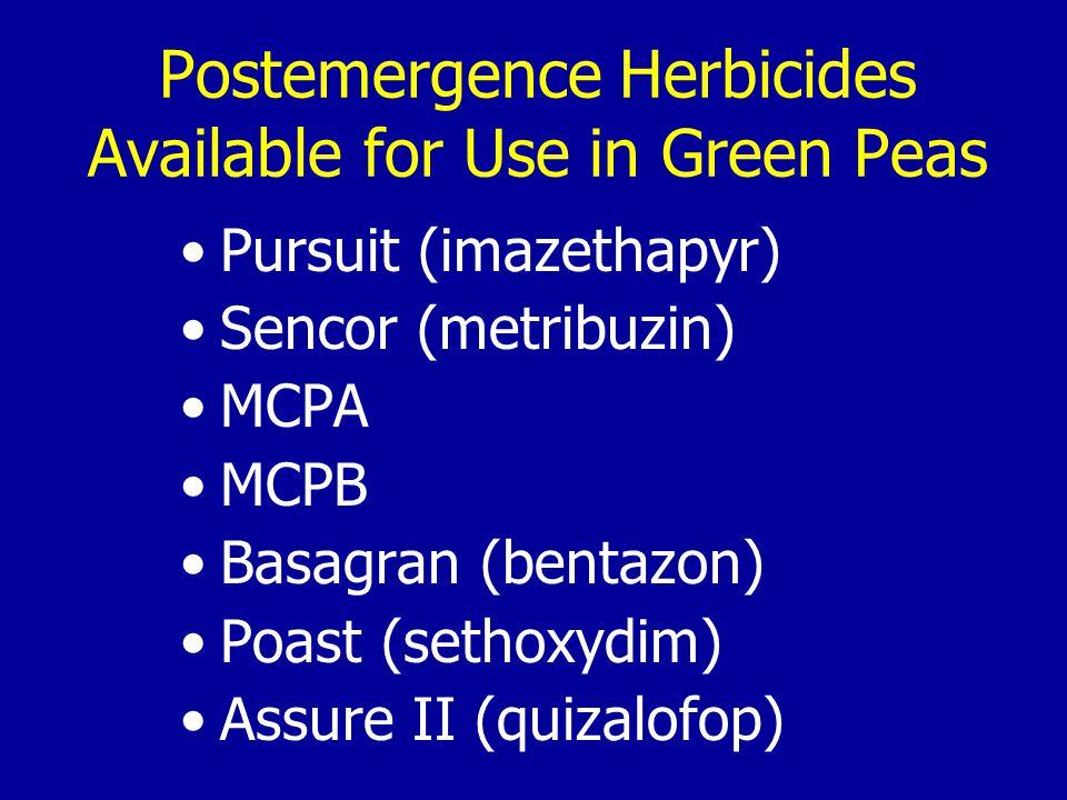 Postemergence Herbicides Available for Use in Green Peas Pursuit (imazethapyr) Sencor (metribuzin) MCPA MCPB Basagran (bentazon) Poast (sethoxydim) Assure II (quizalofop)