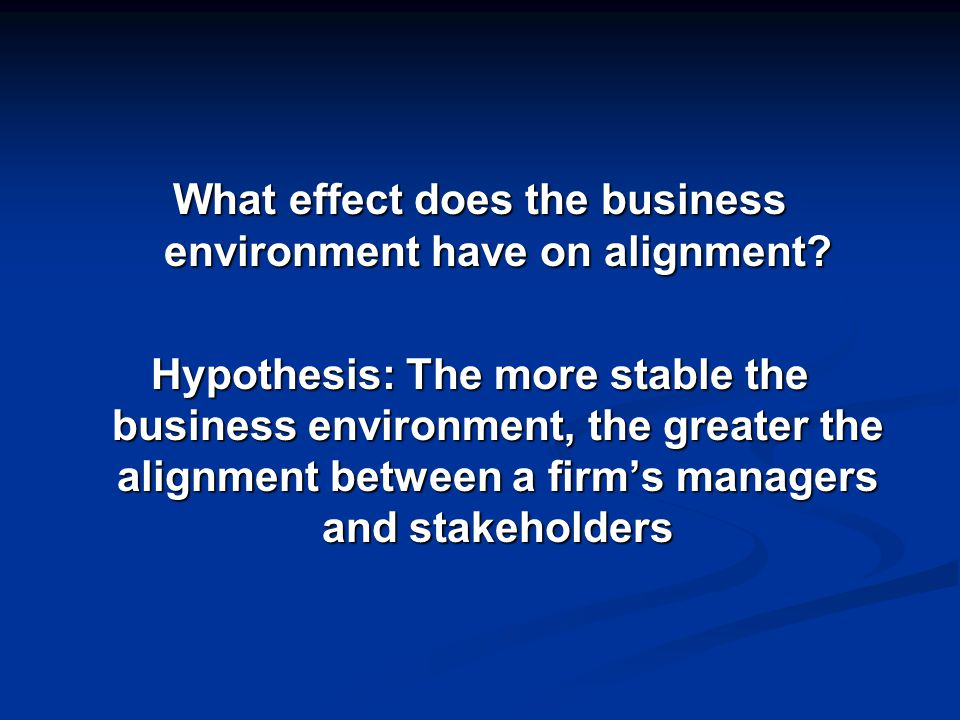 What effect does the business environment have on alignment.