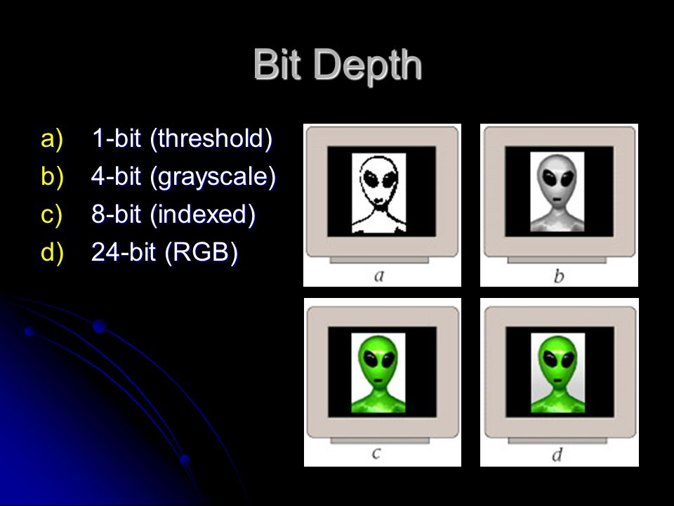 Bit Depth a)1-bit (threshold) b)4-bit (grayscale) c)8-bit (indexed) d)24-bit (RGB)