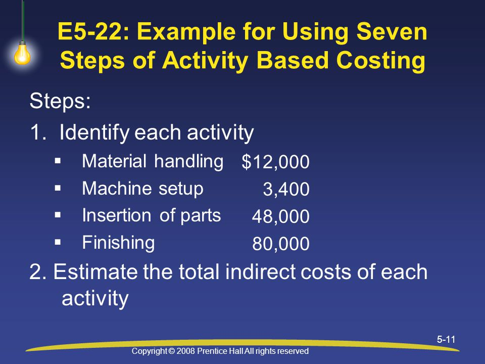 Copyright © 2008 Prentice Hall All rights reserved 5-11 E5-22: Example for Using Seven Steps of Activity Based Costing Steps: 1.