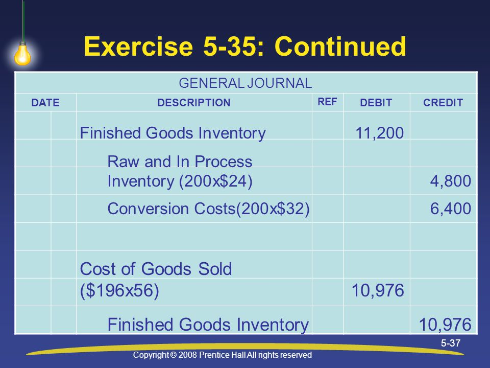 Copyright © 2008 Prentice Hall All rights reserved 5-37 Exercise 5-35: Continued GENERAL JOURNAL DATEDESCRIPTION REF DEBITCREDIT Finished Goods Inventory11,200 Raw and In Process Inventory (200x$24)4,800 Conversion Costs(200x$32)6,400 Cost of Goods Sold ($196x56)10,976 Finished Goods Inventory10,976