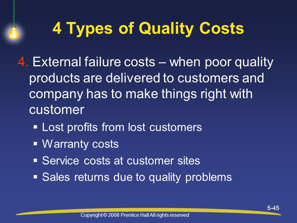 Copyright © 2008 Prentice Hall All rights reserved 5-45 4 Types of Quality Costs 4.