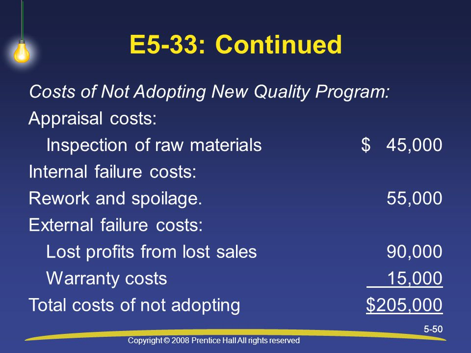 Copyright © 2008 Prentice Hall All rights reserved 5-50 E5-33: Continued Costs of Not Adopting New Quality Program: Appraisal costs: Inspection of raw materials$ 45,000 Internal failure costs: Rework and spoilage.55,000 External failure costs: Lost profits from lost sales90,000 Warranty costs 15,000 Total costs of not adopting$205,000