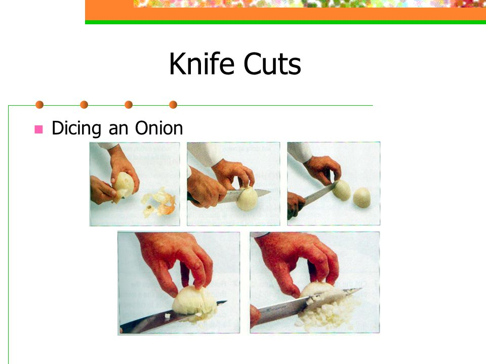 Knife Cuts Dicing an Onion