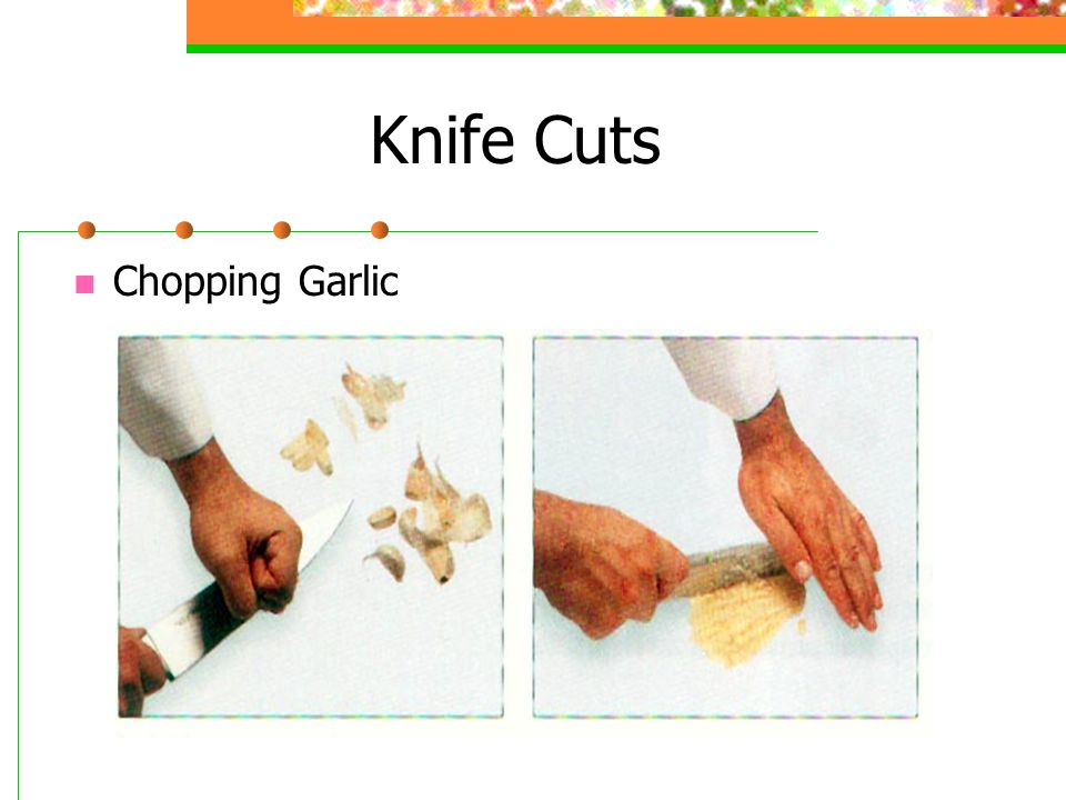 Knife Cuts Chopping Garlic