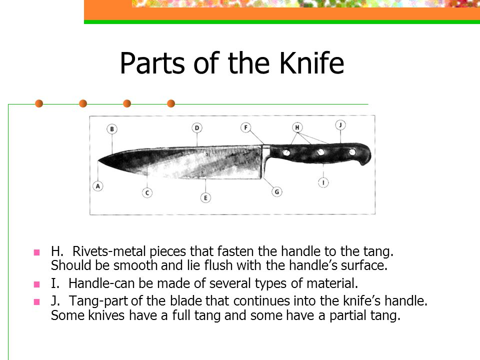 Parts of the Knife H. Rivets-metal pieces that fasten the handle to the tang.