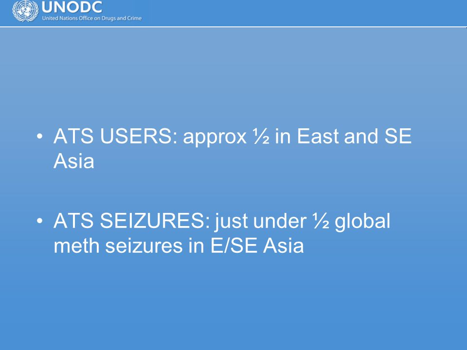 ATS USERS: approx ½ in East and SE Asia ATS SEIZURES: just under ½ global meth seizures in E/SE Asia