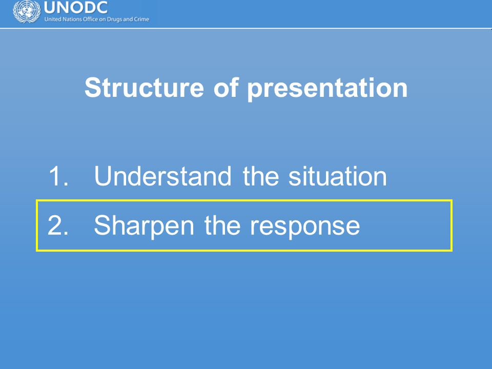 Structure of presentation 1.Understand the situation 2.Sharpen the response