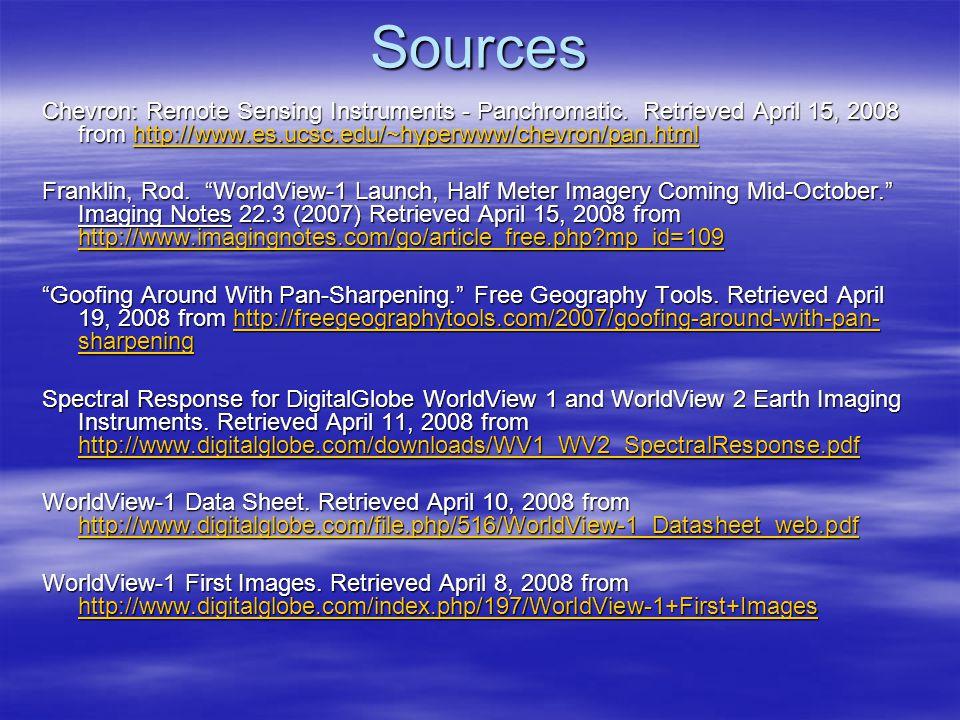 Sources Chevron: Remote Sensing Instruments - Panchromatic.