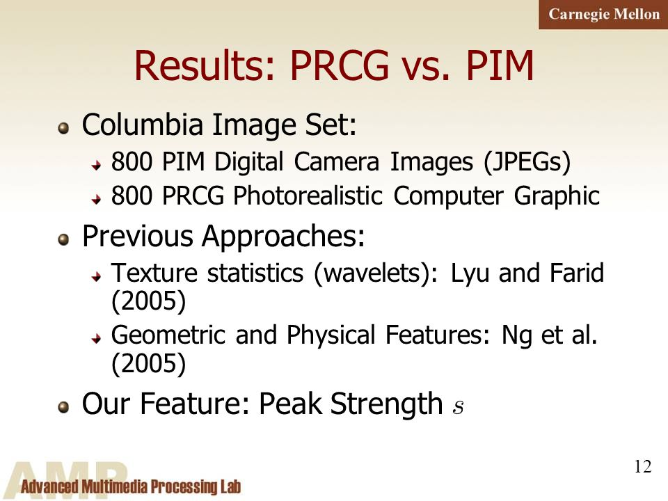 12 Results: PRCG vs. PIM Columbia Image Set: 800 PIM Digital Camera Images (JPEGs) 800 PRCG Photorealistic Computer Graphic Previous Approaches: Textu