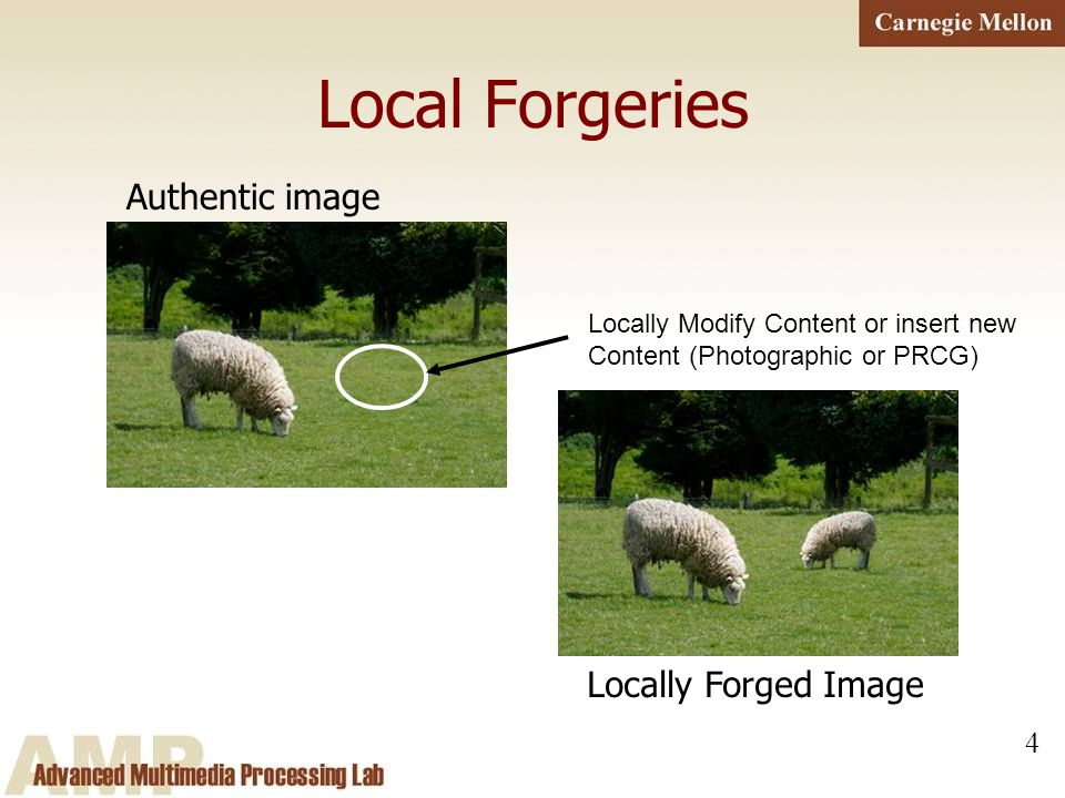4 Local Forgeries Authentic image Locally Modify Content or insert new Content (Photographic or PRCG) Locally Forged Image