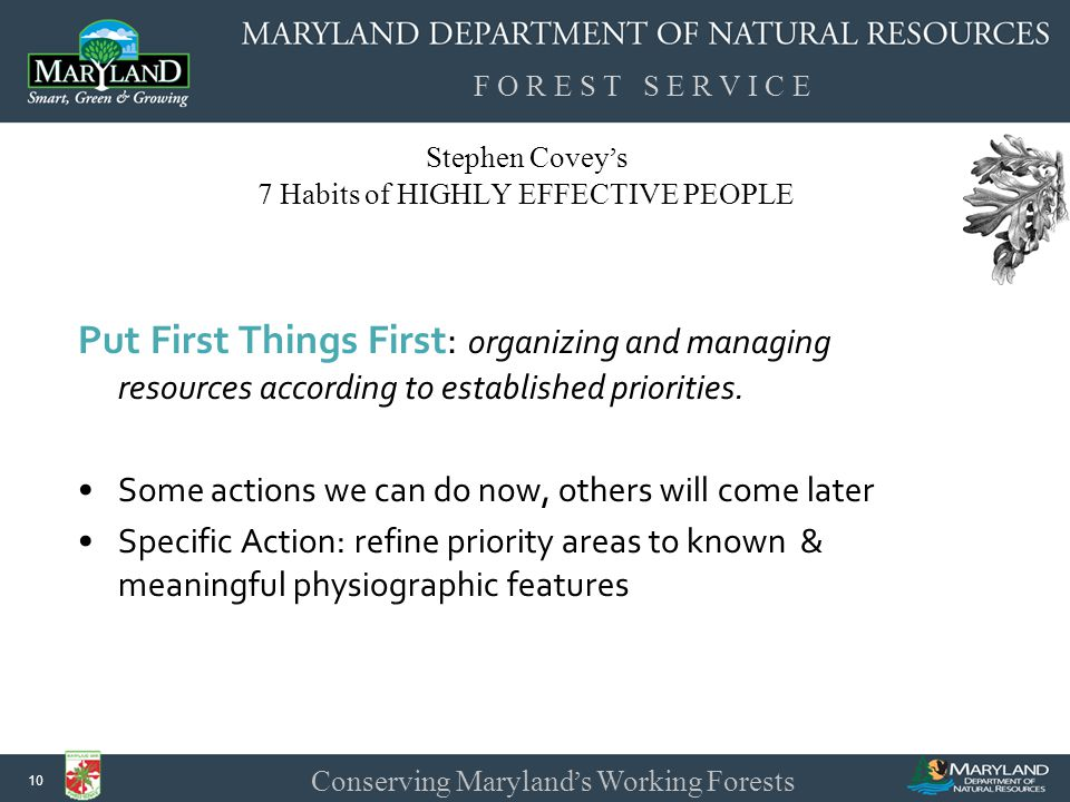 F O R E S T S E R V I C E Conserving Maryland ' s Working Forests 10 Stephen Covey ' s 7 Habits of HIGHLY EFFECTIVE PEOPLE Put First Things First: organizing and managing resources according to established priorities.