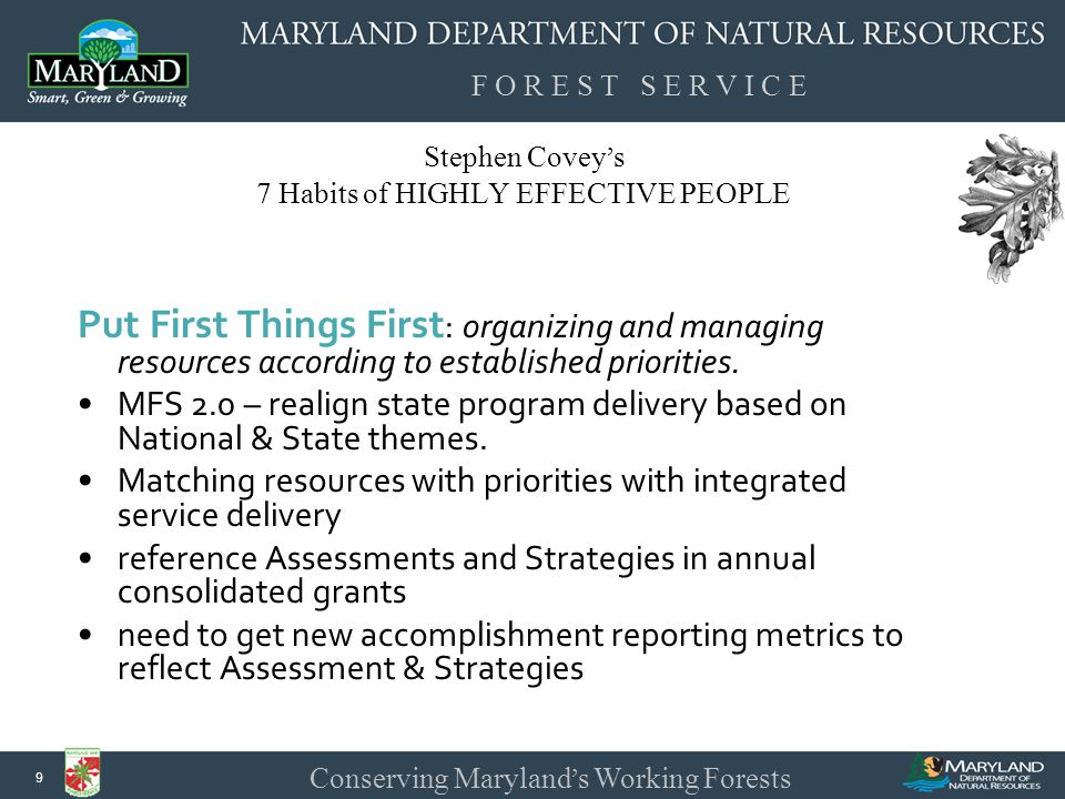 F O R E S T S E R V I C E Conserving Maryland ' s Working Forests 9 Stephen Covey ' s 7 Habits of HIGHLY EFFECTIVE PEOPLE Put First Things First : organizing and managing resources according to established priorities.
