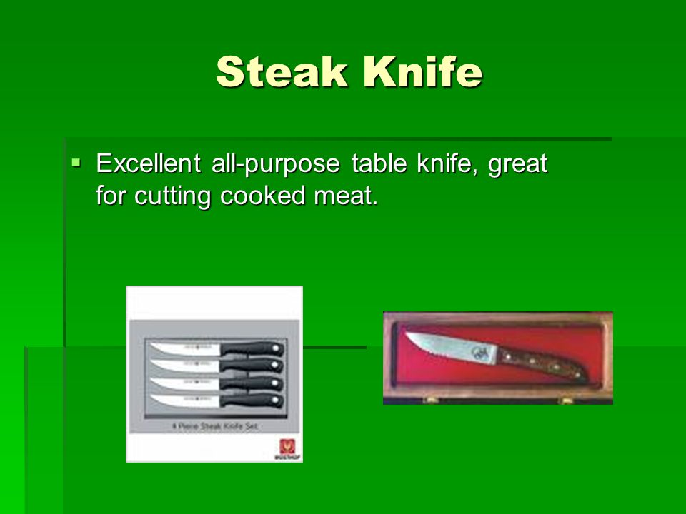 Steak Knife  Excellent all-purpose table knife, great for cutting cooked meat.