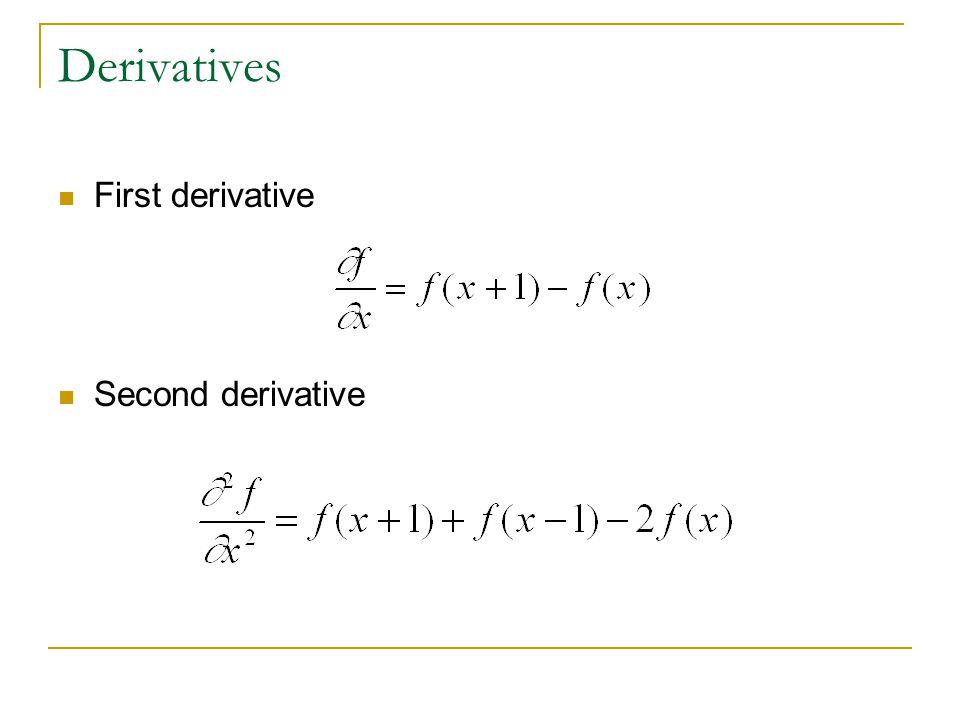Derivatives First derivative Second derivative