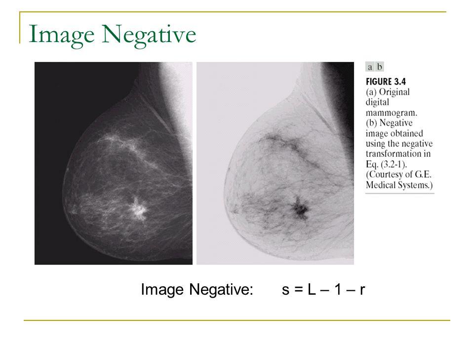 Image Negative Image Negative: s = L – 1 – r
